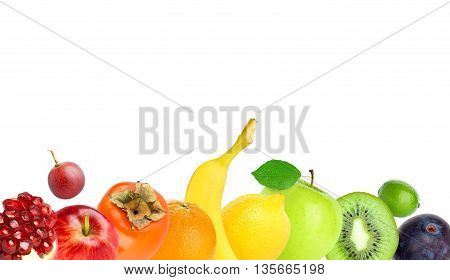 Fruits on white. Healthy food concept. Fresh food