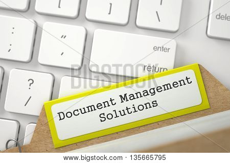 Document Management Solutions. Yellow Sort Index Card on Background of White PC Keypad. Business Concept. Closeup View. Blurred Illustration. 3D Rendering.