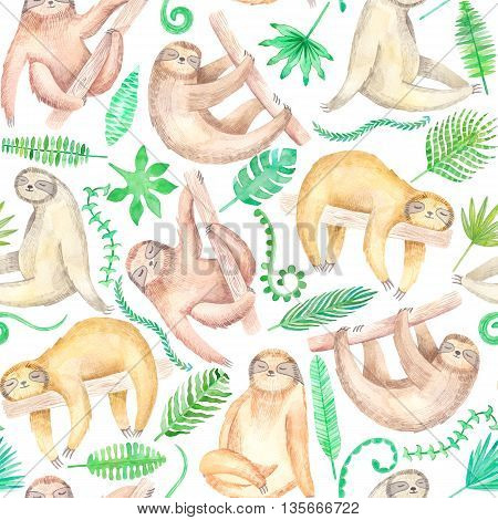 Watercolor cute sloth seamless pattern on white background