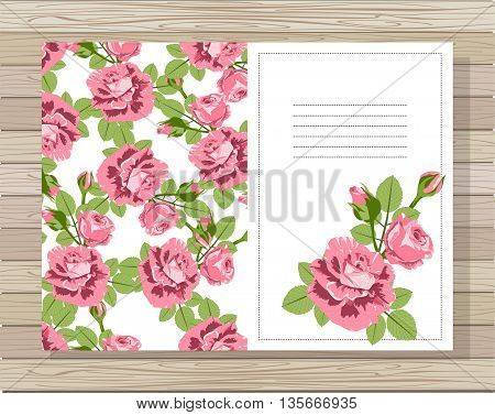 Beautiful background with roses flowers and space for text. Vector illustration. EPS 10