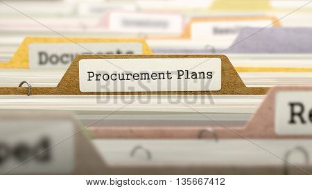 Procurement Plans Concept on Folder Register in Multicolor Card Index. Closeup View. Selective Focus. 3D Render.
