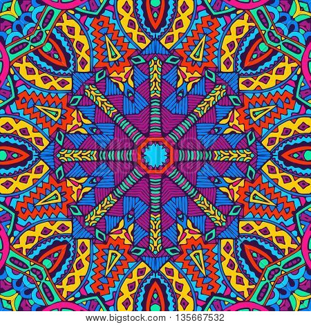 Abstract festive colorful geometric  vector ethnic tribal pattern