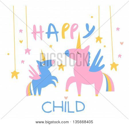 Happy Child Backdrop Illustration With Unicorns Mother And Baby In Cute Childish Flat Vector Design On White Background