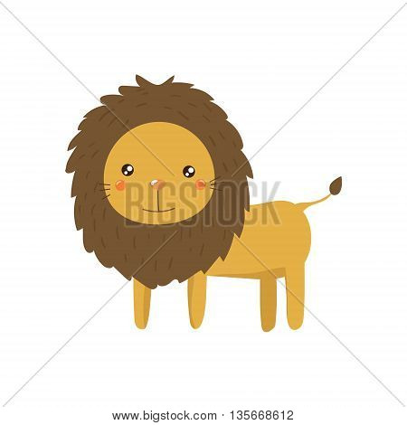 Lion Realistic Childish Illustration In Simple Cute Vector Design Isolated On White Background