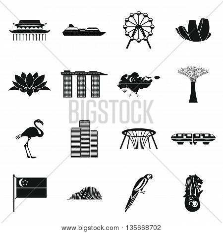 Singapore icons set in simple style isolated on white background
