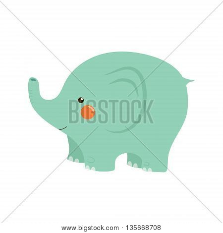 Elephant Stylized Childish Illustration In Simple Cute Vector Design Isolated On White Background