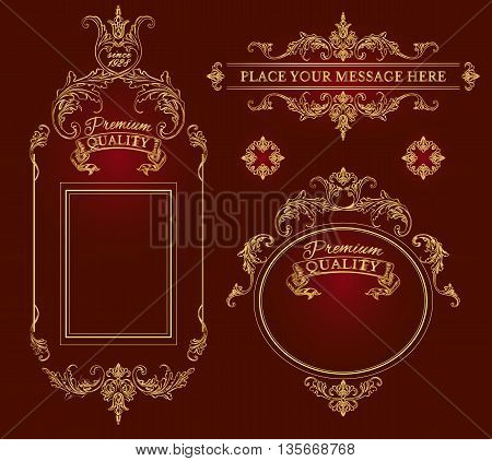 Golden calligraphic design page decoration elements and frames.Vintage premium quality label collection. Best for chocolate, cocoa, alcoholic beverages and tobacco. Vector illustration