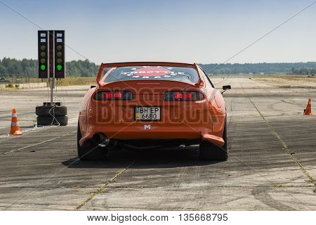 VinnytsiaUkraine-July 26 2015: Drag racing car brand Toyota Supra prepares for the races of the Drag championship of Ukraine on July 262015 in Vinnytsia Ukraine.