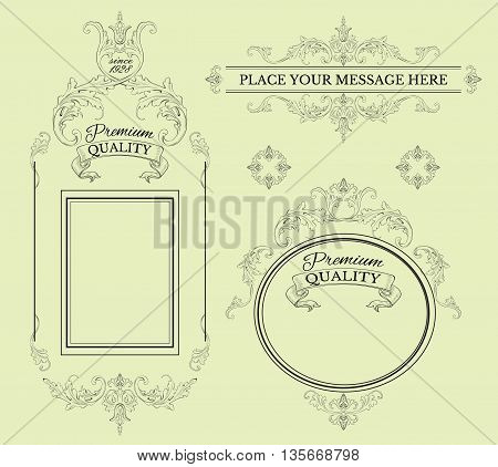 Calligraphic design page decoration elements and frames.Vintage premium quality label collection . Best for cosmetics, beauty store, natural and organic products. Vector illustration