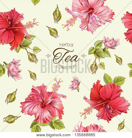 Vector herbal tea seamless pattern with hibiscus flowers.Background design for tea, homeopathy, herbal cosmetics, grocery, health care products. Best for fabric, textile, wrapping paper.