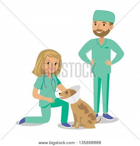 Two doctors with dog. Vet doctors. Cartoon veterinarians healing dog. Vector illustration