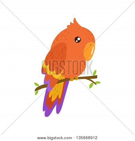 Red Macaw Realistic Childish Illustration In Simple Cute Vector Design Isolated On White Background