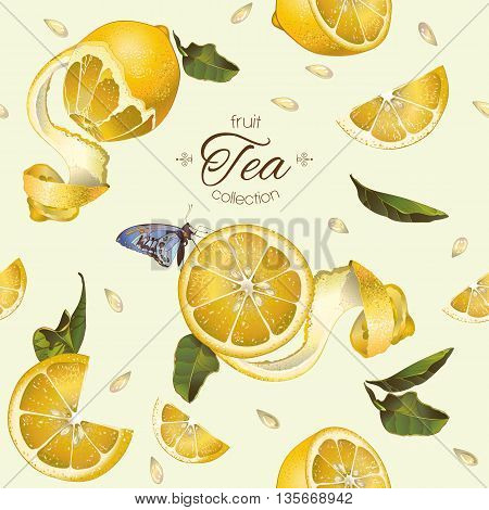 Vector fruit tea seamless pattern with lemon and butterfly.Background design for juice, tea, cosmetics, grocery , health care products.Best for fabric, textile, wrapping paper.
