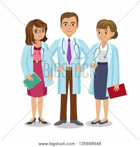 Medical team. Three doctors with stethoscopes man and women's. Healthcare and medical concept. Vector Illustration