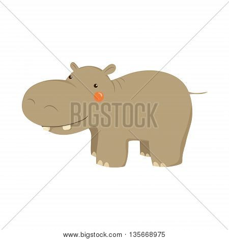 Hippopotamus Realistic Childish Illustration In Simple Cute Vector Design Isolated On White Background