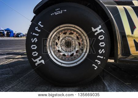 VinnytsiaUkraine-July 26 2015: Rear wheel drag car parked in a park-service before the races of the Drag championship of Ukraine on July 262015 in Vinnytsia Ukraine.