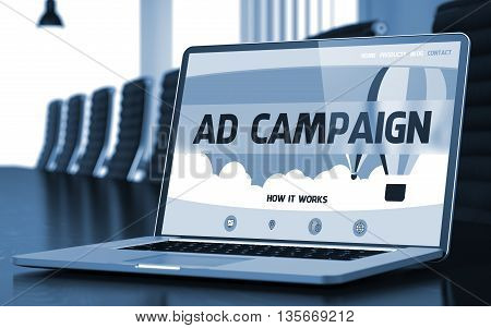 Modern Meeting Room with Laptop Showing Landing Page with Text Ad Campaign. Closeup View. Toned Image. Selective Focus. 3D Render.