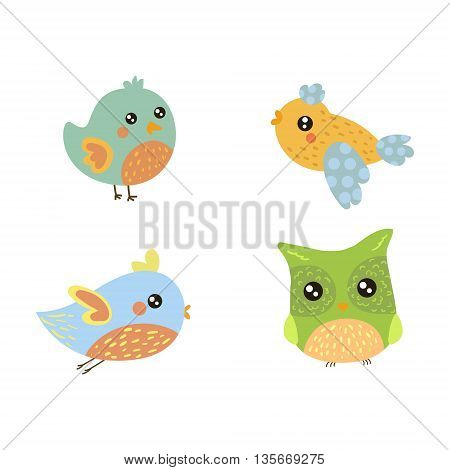 Four Cute Small Birds Collection Of Isolated Childish Style Simple Shape Design Vector Icons On White Background
