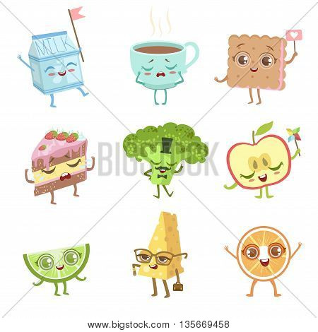 Different Food Childish Characters Emotion Set Of Detailed Adorable Flat Vector Drawings Isolated On white Background
