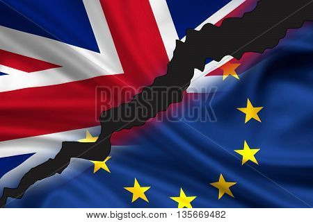 Tattered / divided flag of Great Britain (Union Jack) and Europe symbolizing the exit of UK from Europe (Brexit).