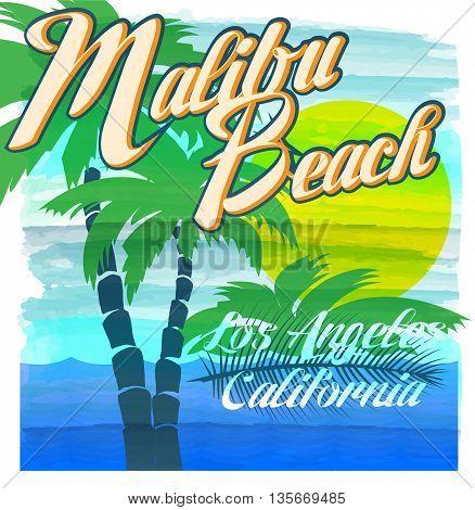Malibu beach typography t-shirt graphics vectors fashion style