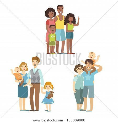 Happy Families Posing Together Simplified Cartoon Style Flat Vector Colorful Illustrations On White Background