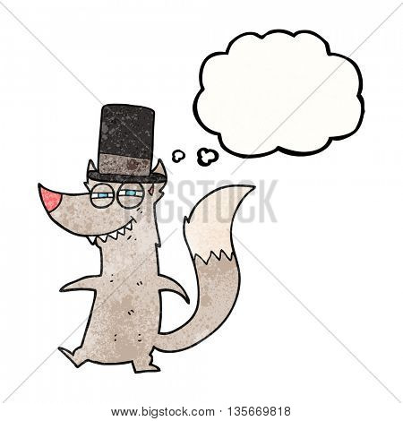freehand drawn thought bubble textured cartoon little wealthy wolf