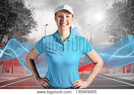 Sportswoman posing on black background against composite image of tennis field on a sunny day