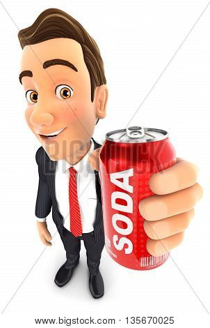 3d businessman holding soda can illustration with isolated white background