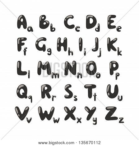 Cartoon vector illustration of funny text letters alphabet black silhouette for children education. Alphabet black silhouette font, abc set and alphabet. Black silhouette education alphabet cartoon