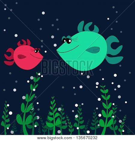 two lovers fishes on the sea bottom