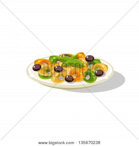 Traditional Italian Ravioli Simplified Flat Vector Icon Isolated On White Background