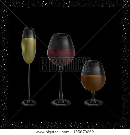 three glasses with champagne, wine and whiskey on a black background