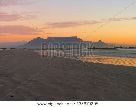 Sun Setting Over Table Mountain, Cape Town South Africa