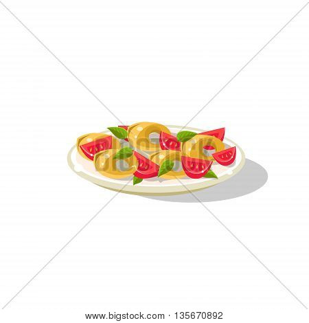 Traditional Italian Gnocchi Simplified Flat Vector Icon Isolated On White Background