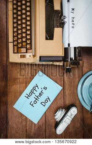 Fathers day messages written on paper with typewriter