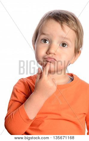 Cute thinking child on a white background