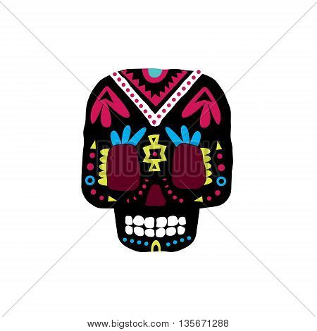 Black Traditional Mexican Painted Scull Cool Pattern Vector Design Icon Isolated On White Background
