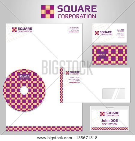 Vector corporate identity templates with square abstract logo. Business company branding, corporate branding template, identity branding, logo branding brochure flyer and letterhead illustration
