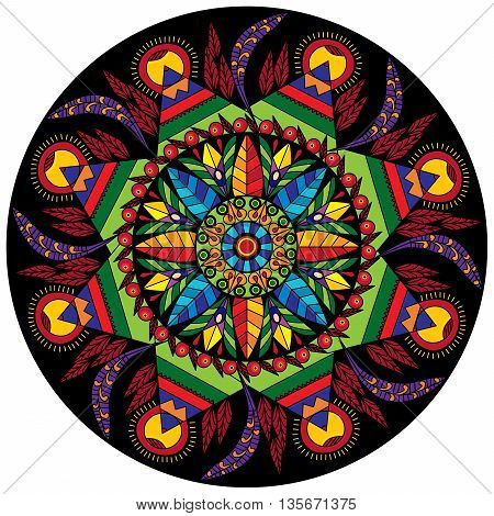 Colorful mandala circular decorative ornament with flowers and leaves in ethnic style, a kaleidoscope or mosaic, arabesque and stained glass print pattern vector illustration