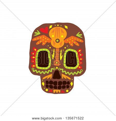 Traditional Mexican Painted Scull Cool Pattern Vector Design Icon Isolated On White Background