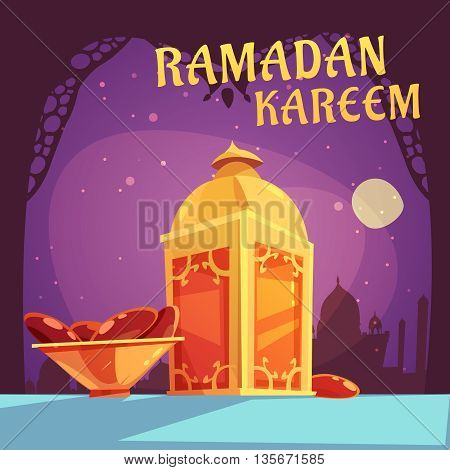 Color cartoon illustration with purple background depicting ramadan iftar kareem vector illustration