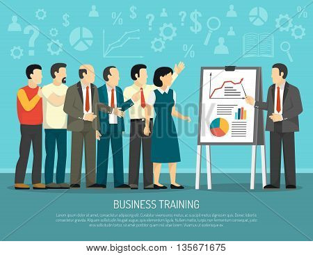 Business development training course for company employees flat poster with diagrams and graphics presentation abstract vector illustration