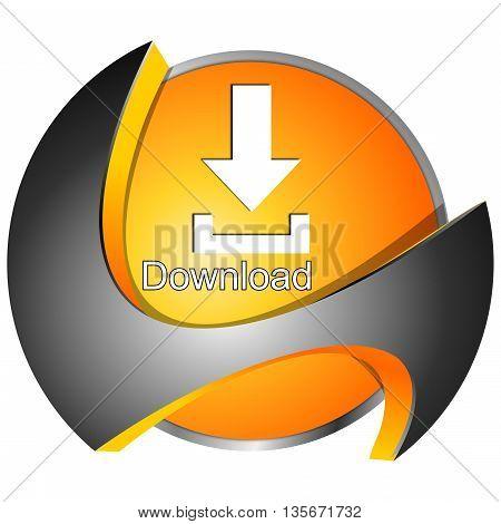 decorative orange Download button - 3D illustration