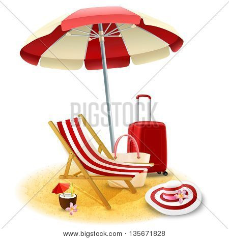 Beach deck chair and umbrella with suitcase and cocktail cartoon vector illustration