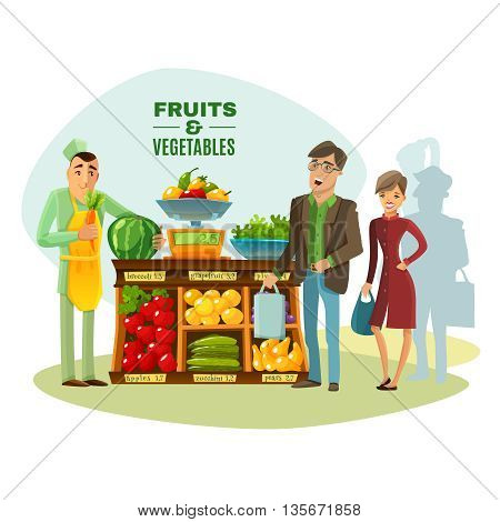 Fruit and vegetables seller with counter salesman and customers cartoon vector illustration