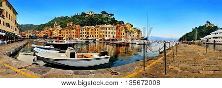Panoramic view of Portofino Bay and the central square in Liguria