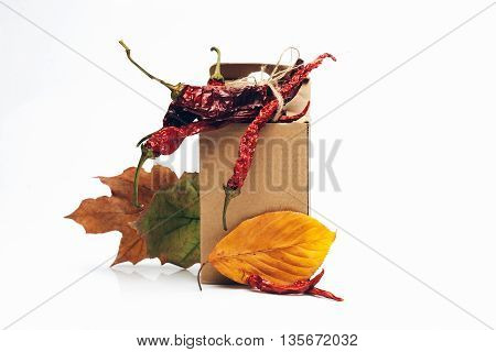 brown paper cardboard package with dried red wrinkled chilli pepper inside near autumn leaves isolated on white background copy space