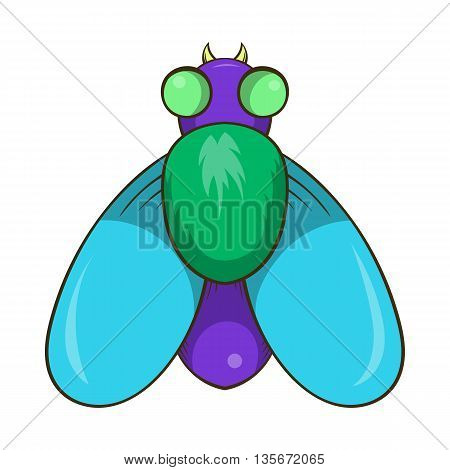 Fly icon in cartoon style isolated on white background. Insects symbol