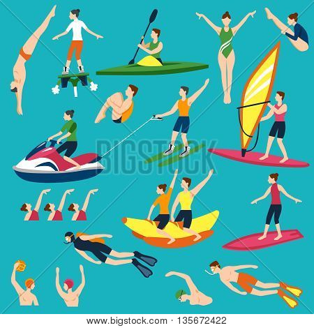 Water Activities Icons Set. Water Sport Vector Illustration. Water Sport Decorative Set.  Water Sport And Activity Design Set. Water Sport Flat Isolated Set.